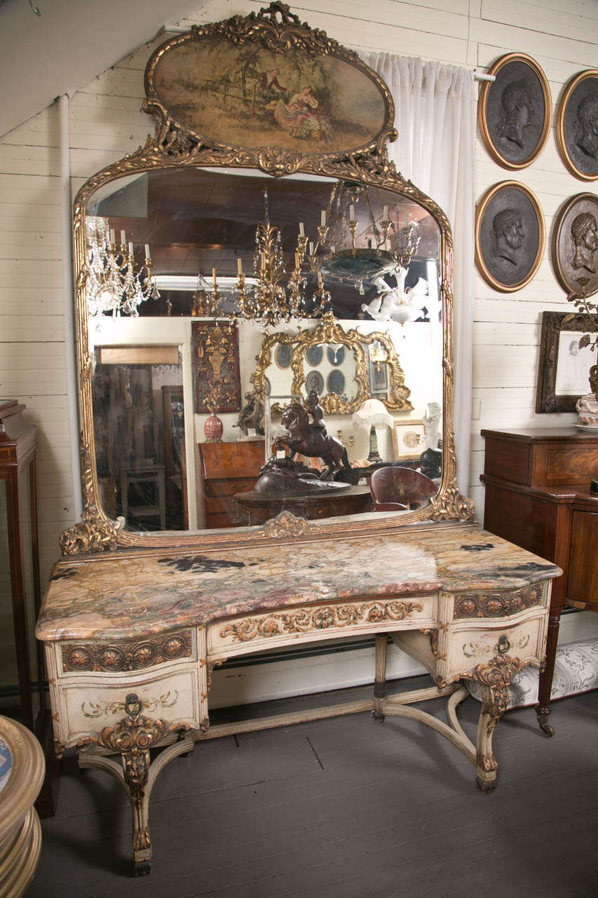Painted Marble Top Dressing Table And Mirror At 1stdibs