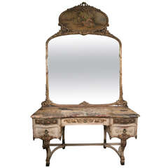 Painted Marble Top Dressing Table and Mirror