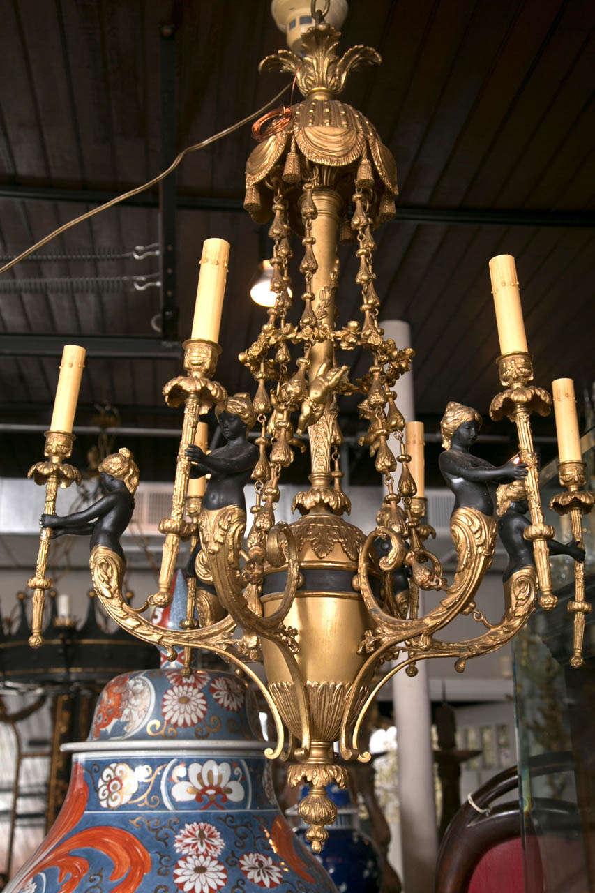 Gilt Bronze  6 Light  Chandelier For Sale 5