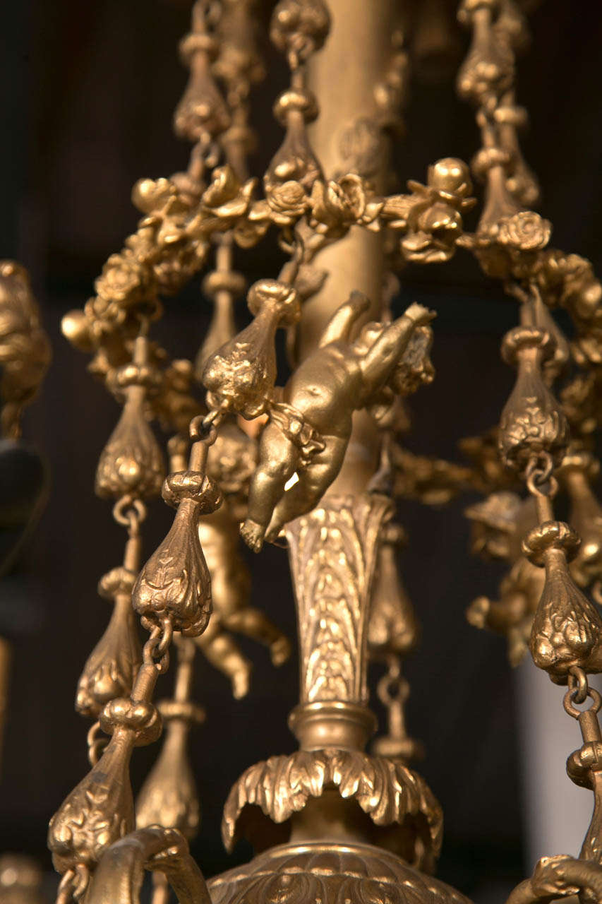 20th Century Gilt Bronze  6 Light  Chandelier For Sale