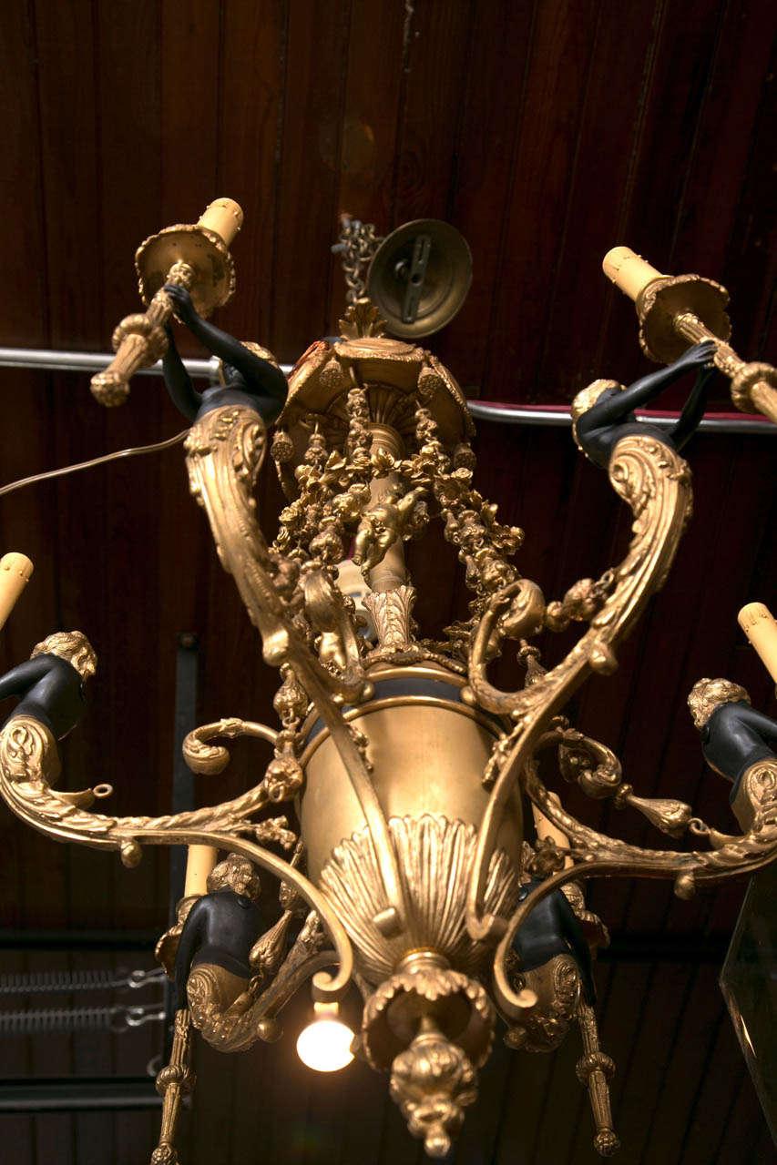 Gilt Bronze  6 Light  Chandelier For Sale 1
