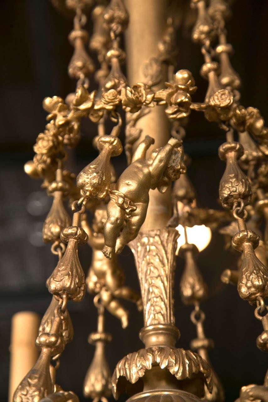 Gilt Bronze  6 Light  Chandelier For Sale 3