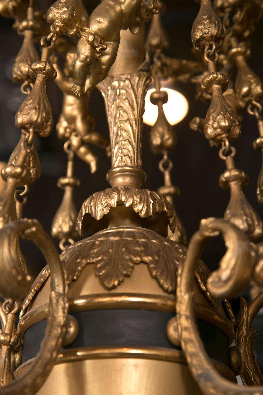 Gilt Bronze  6 Light  Chandelier For Sale 4