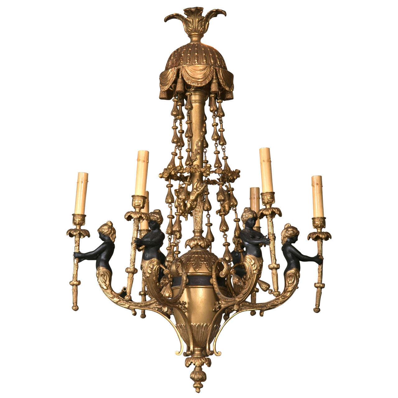 Gilt Bronze  6 Light  Chandelier For Sale