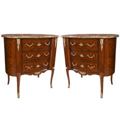 Pair of Shaped, Marble Topped  3  Drawer Chests
