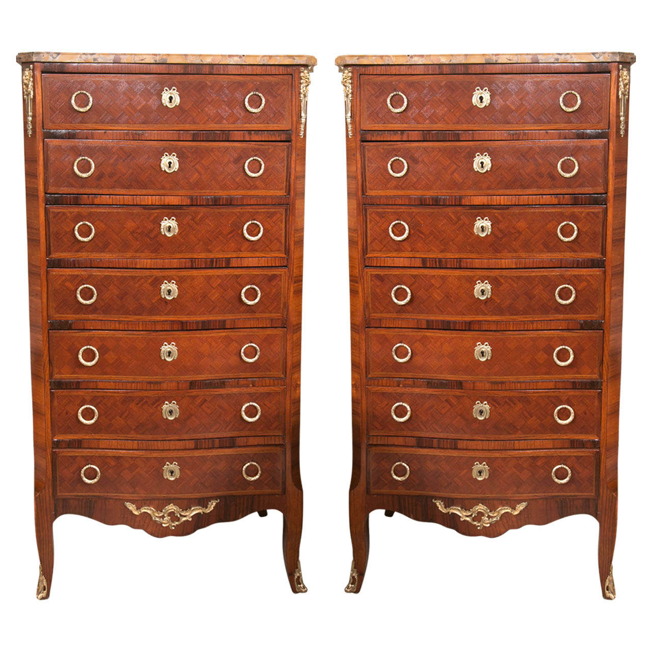 Beautiful Pair of Marble Topped  Semainiers