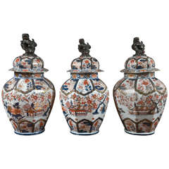 Set of Three Imari Urns with Lids