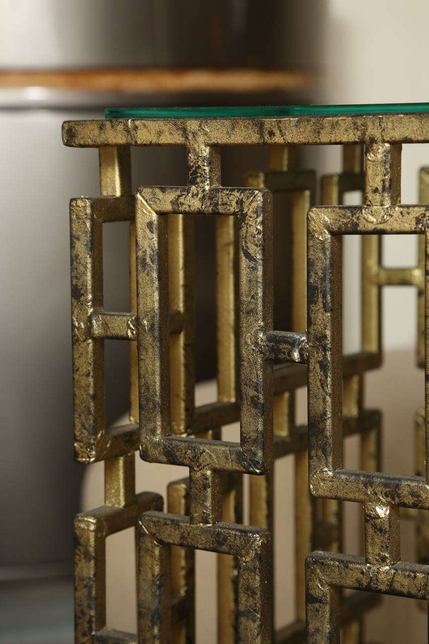 Interesting Geometric Metal And Glass Side Table At 1stdibs