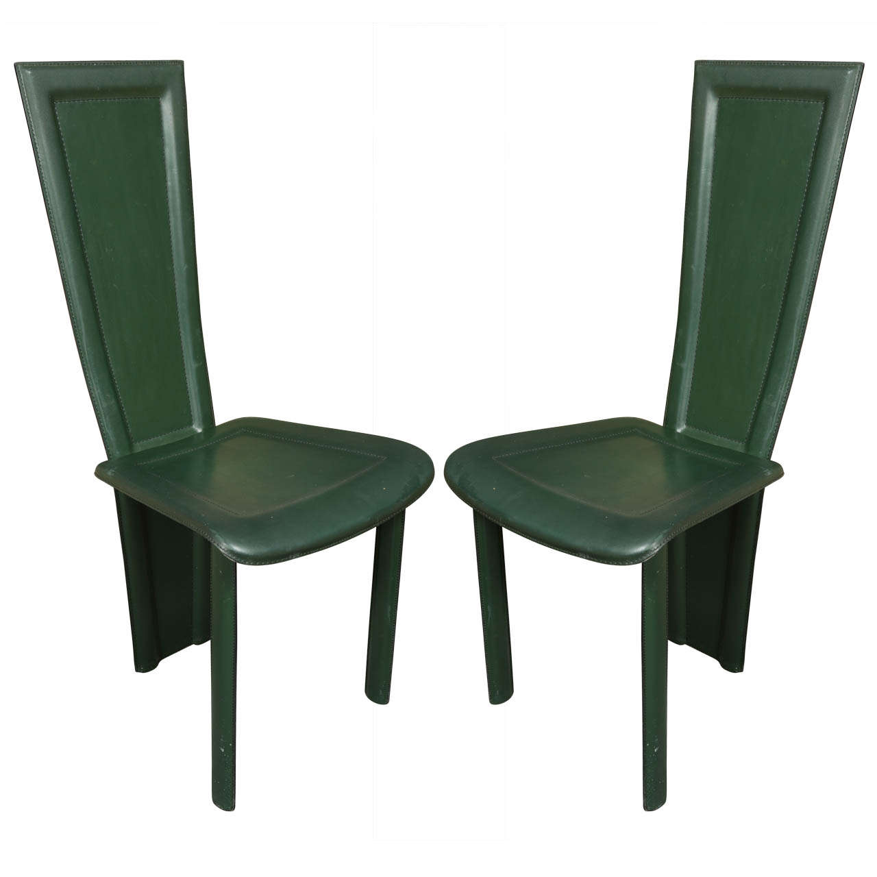 Pair Of High Back Leather Chairs By Artedi At 1stdibs