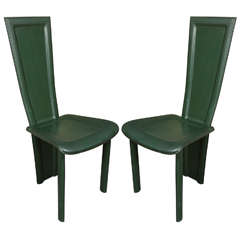 Pair of High-Back Leather Chairs by Artedi