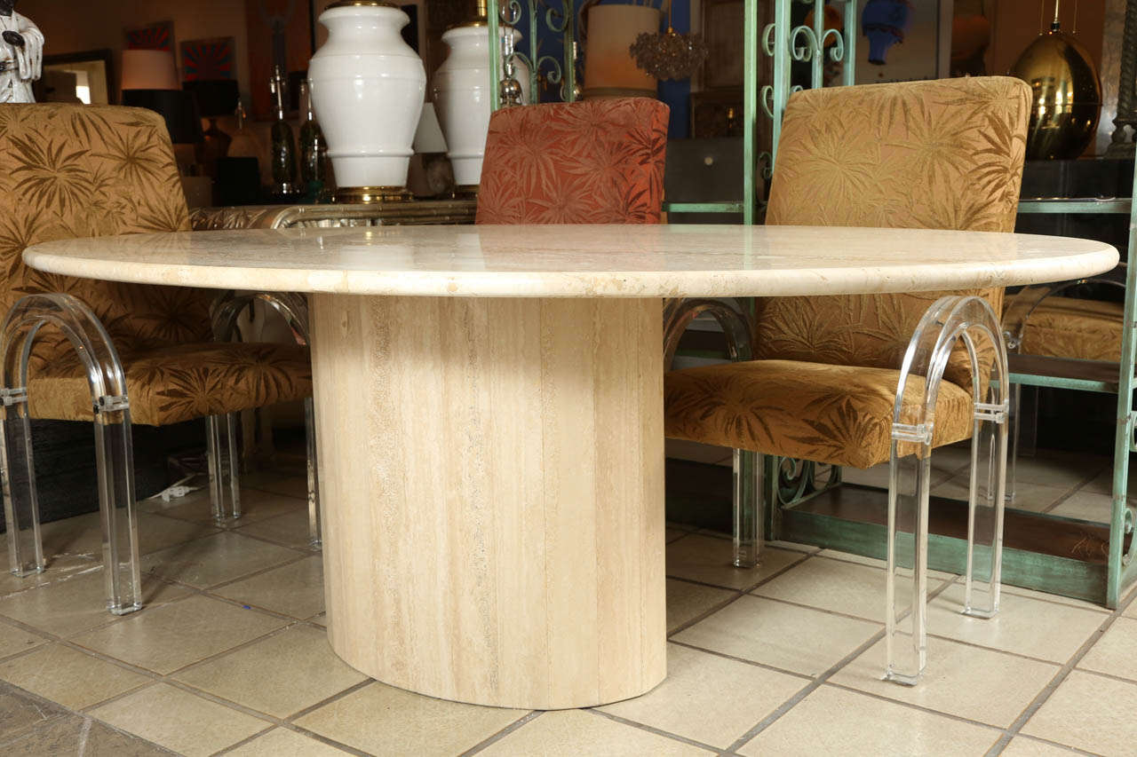 Travertine dining room table - Classic Oval Polished Travertine Dining Table 3