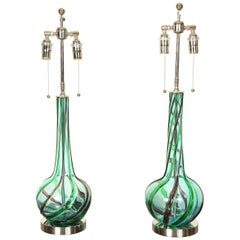 Pair of Murano Ribbon Swirl Glass Lamps