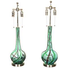 Pair of Murano Ribbon Swirl Glass Lamps
