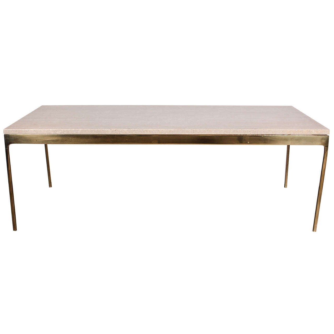 Brass And Travertine Coffee Table By Nico Zographos At 1stdibs