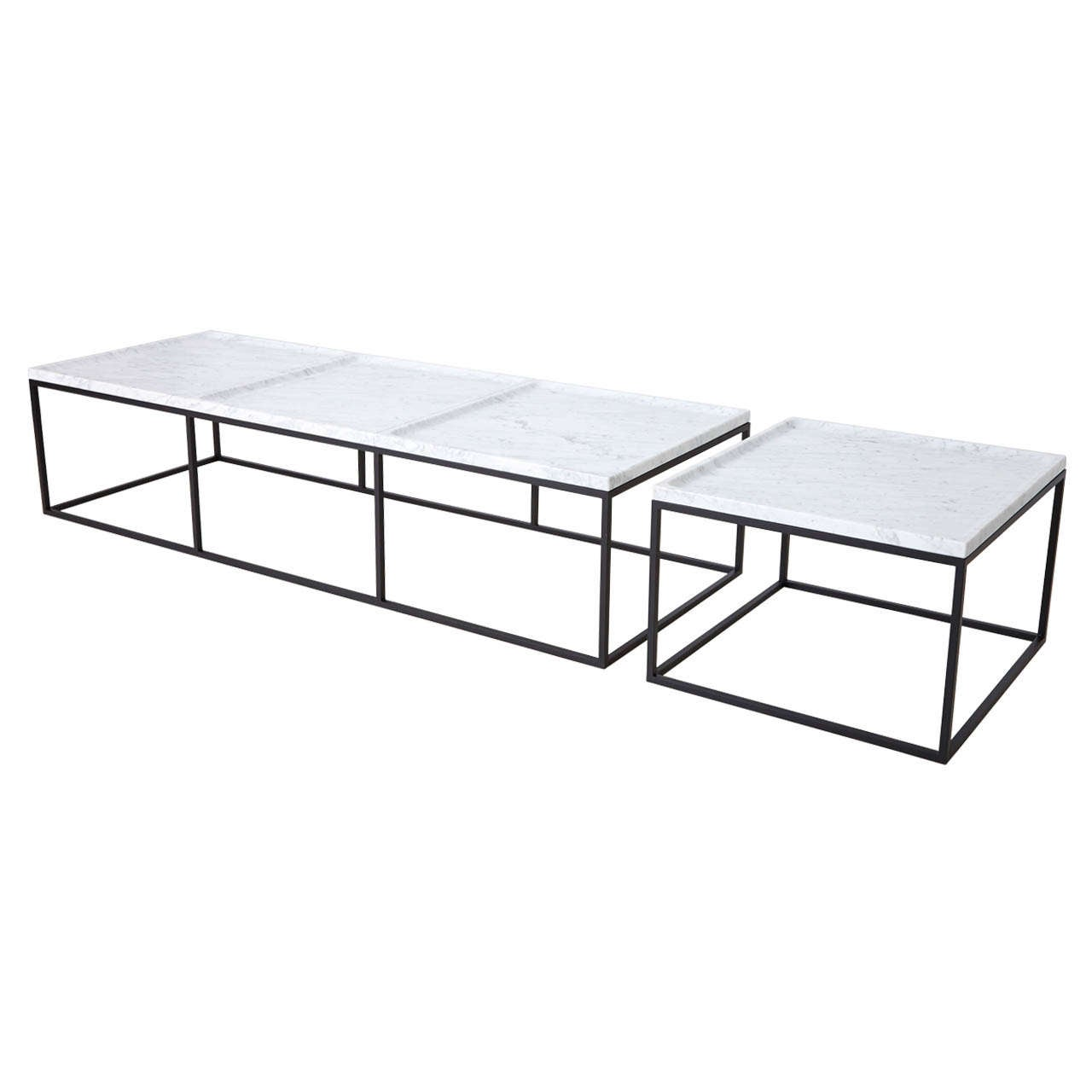 White Marble Coffee Table Set: Coffee Tables In White Carrara Marble At 1stdibs