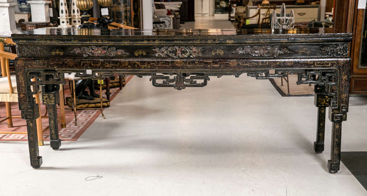 Antique chinese black lacquer console table at 1stdibs antique chinese black lacquer console table 2 geotapseo Gallery