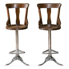 Pair of English Ship Chairs with Steel