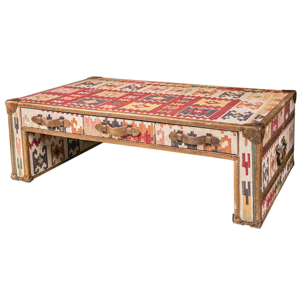 Awesome Kilim And Leather Trunk Style Coffee Table For Sale