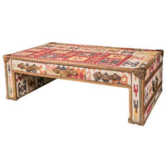 Kilim and Leather Trunk Style Coffee Table