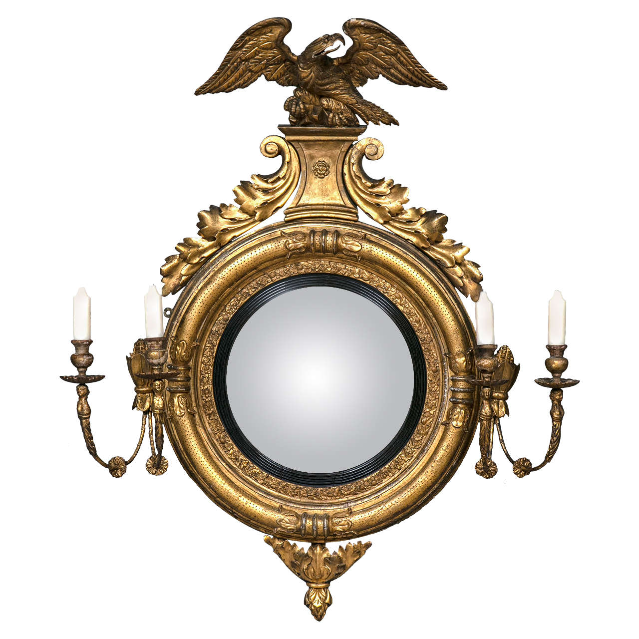 Fine federal convex mirror with girandola candles arms at for Convex mirror