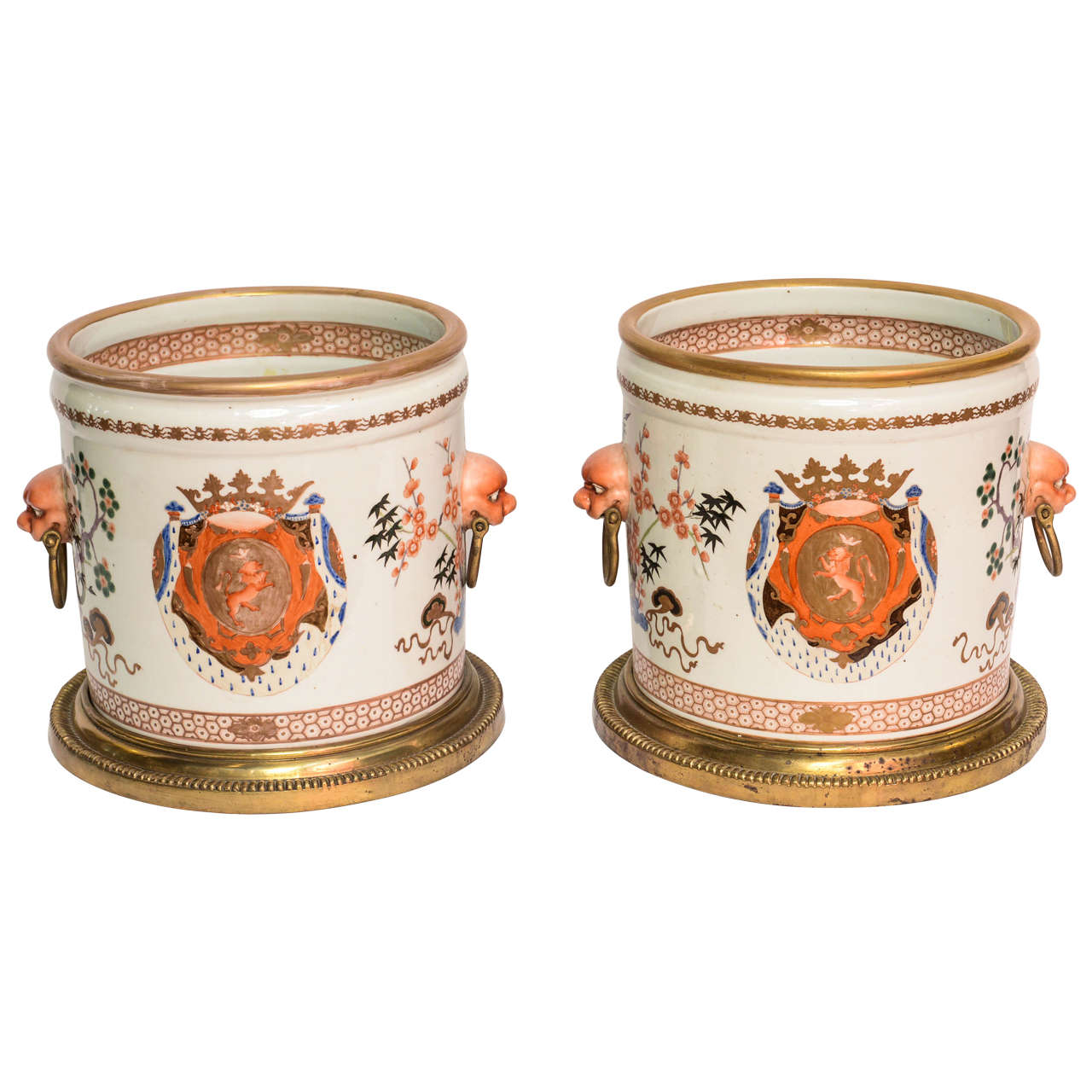 Pair of 19th Century Armorial Cachepots in the Chinese Export Style