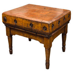 French Fruitwood Butcher Block, circa 1890