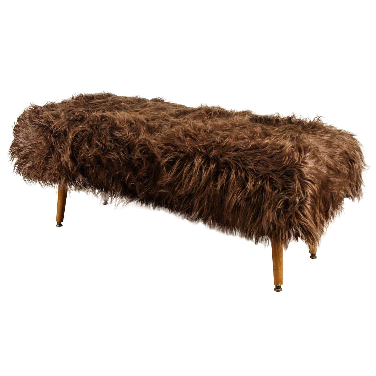 Mid Century Faux Fur Bench At 1stdibs