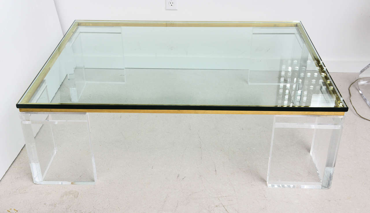 lion in frost lucite and brass coffee table, signed at 1stdibs