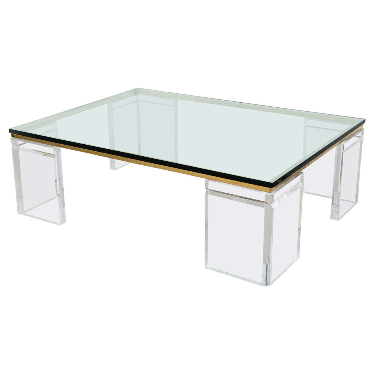 Lion in frost lucite and brass coffee table signed at 1stdibs for Lucite and brass coffee table