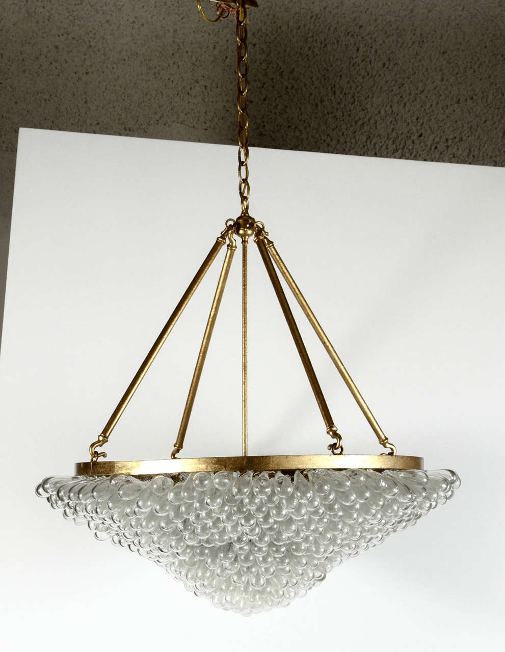 Large Blown Glass Beaded Chandelier At 1stdibs