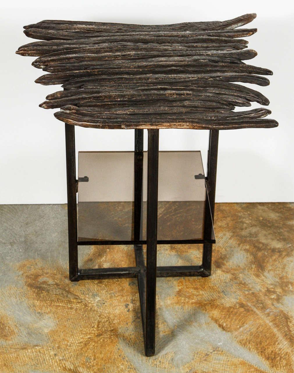 Contemporary Paul Marra Cast Bronze Pod Table For Sale