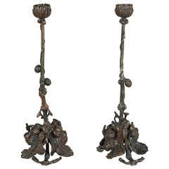 Pair of Art and Crafts Bronze Candlesticks