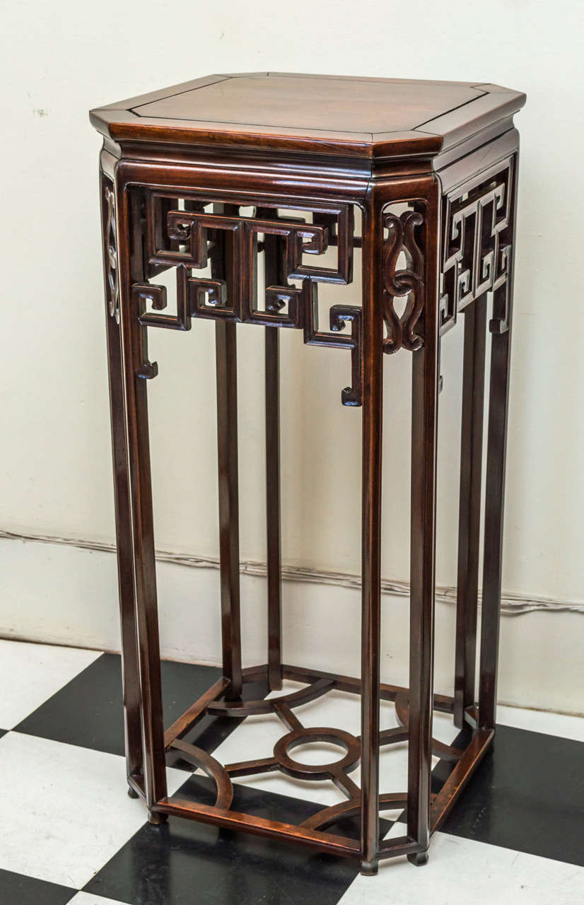 Chinese Li Wood Rosewood Octagonal Form Incense Stand