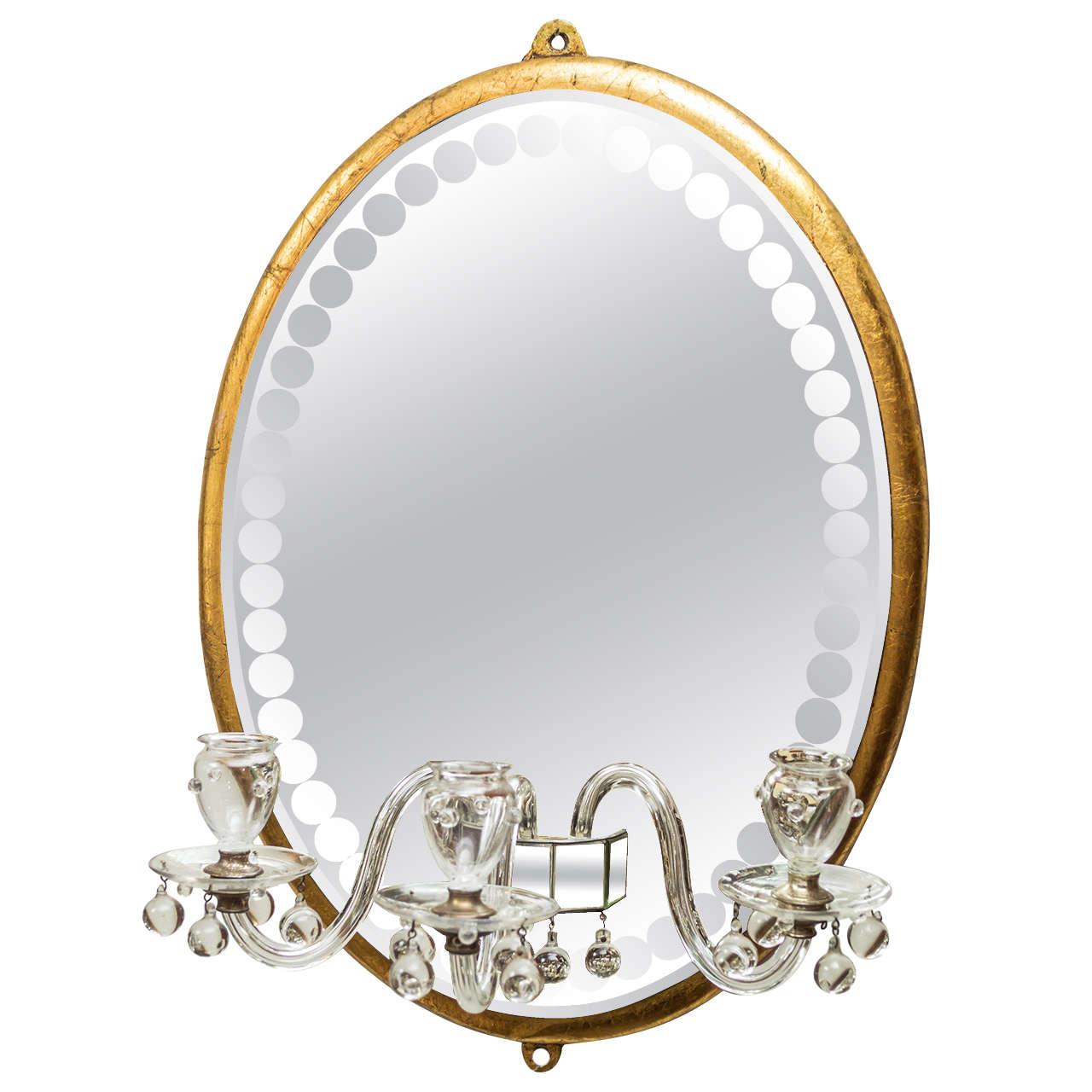 Mid-20th Century Oval Girandole Mirror in the Style of Maison Bagués