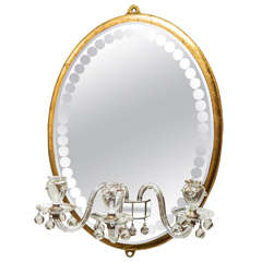 Mid-20th Century Oval Girandole Mirror in the Style of Maison Bagués