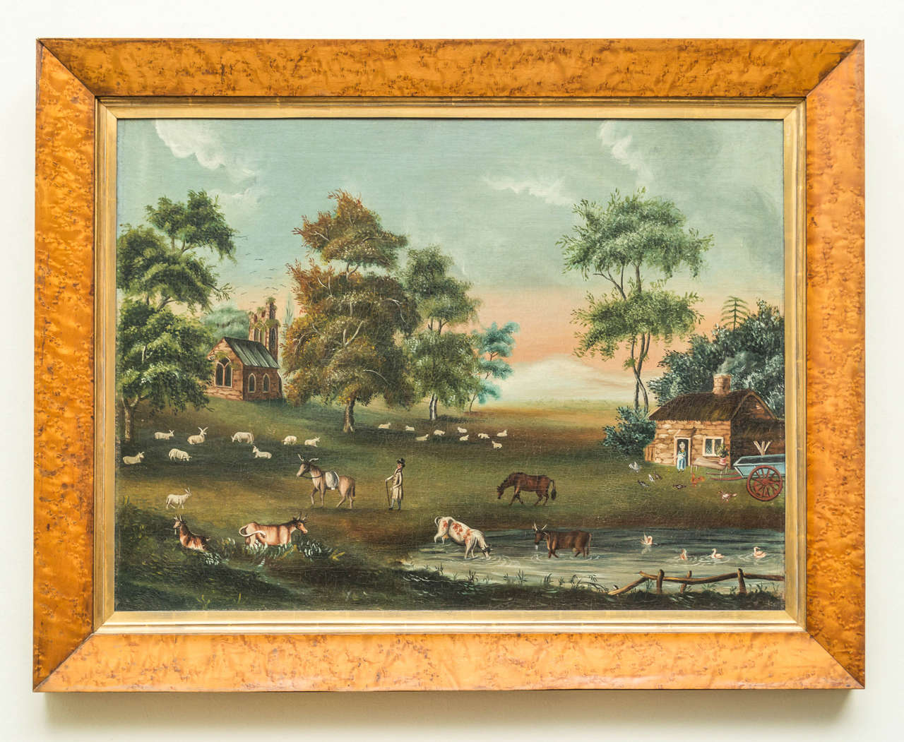 Early 19th century, English naive landscape painting with bird's-eye maple frame. Cleaned and stretched with good aged surface, circa 1825.