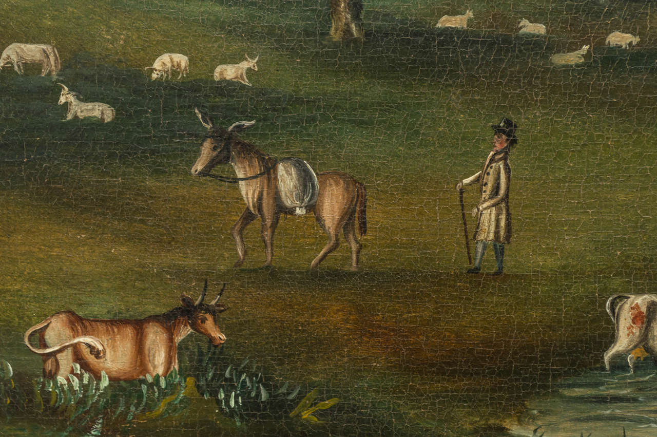 Early 19th Century English Naive Landscape Painting In Good Condition For Sale In San Francisco, CA