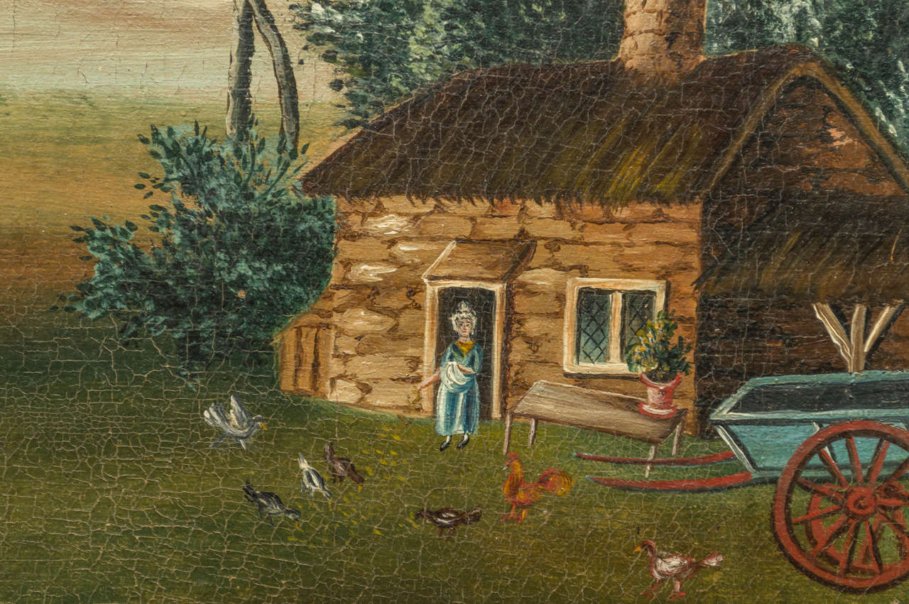 Birdseye Maple Early 19th Century English Naive Landscape Painting For Sale