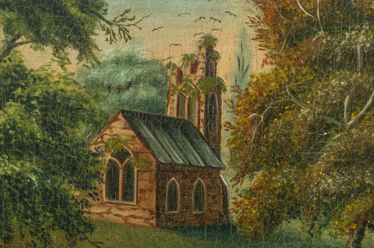 Early 19th Century English Naive Landscape Painting For Sale 1