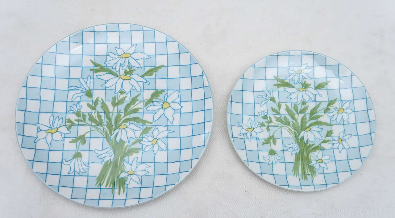 Daisies and Checkerboard Decorated Porcelain Breakfast Set For Sale 1