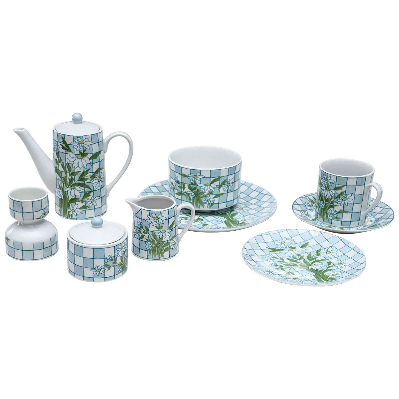 Daisies and Checkerboard Decorated Porcelain Breakfast Set For Sale