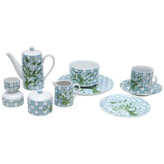 Daisies and Checkerboard Decorated Porcelain Breakfast Set