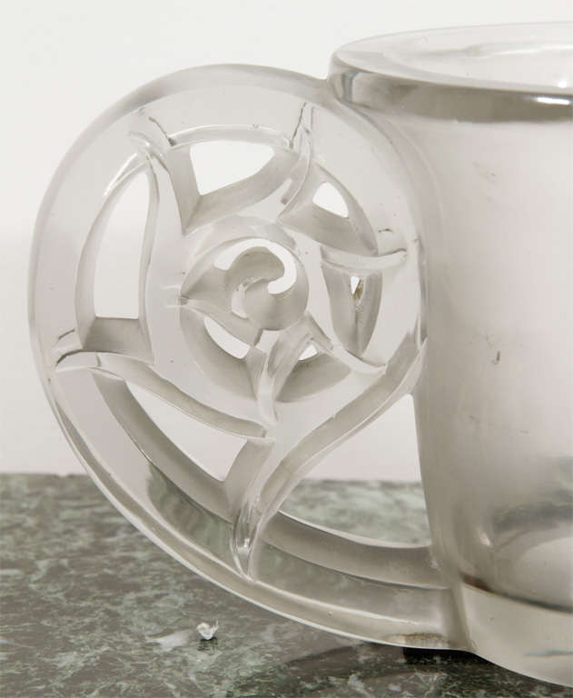 Vase #900; designed in 1926; clear and frosted, wheel engraved R. Lalique