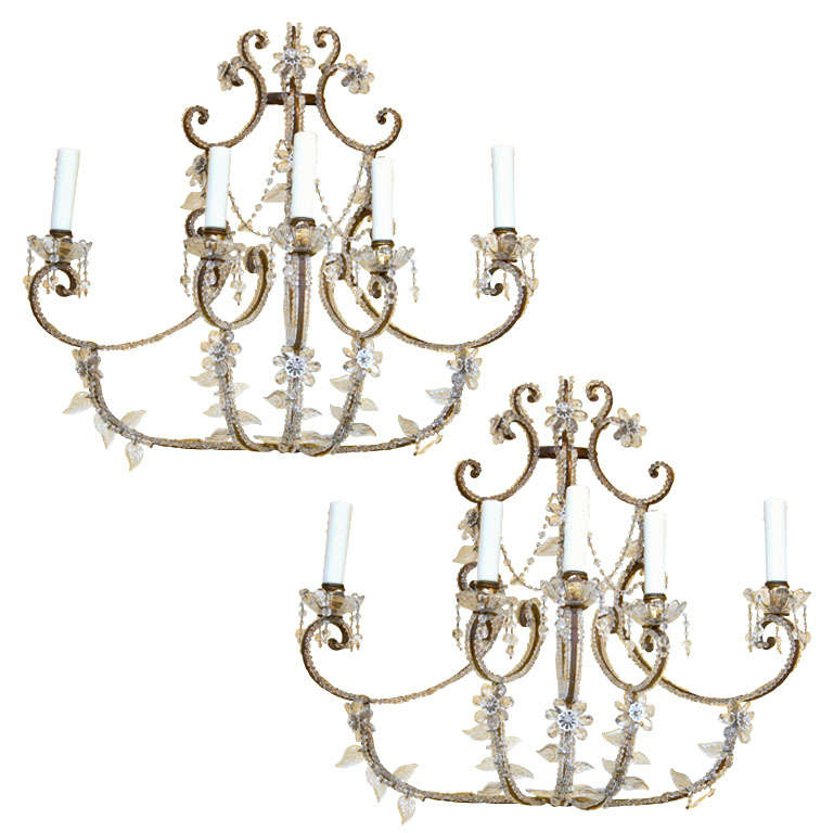Large Elegant Wall Sconces : Elegant Pair of Italian Sconces For Sale at 1stdibs