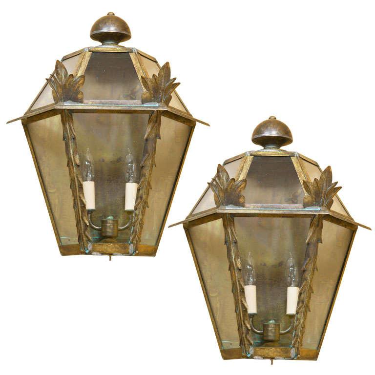 Pair of Italian Glass Encased Wall Lights