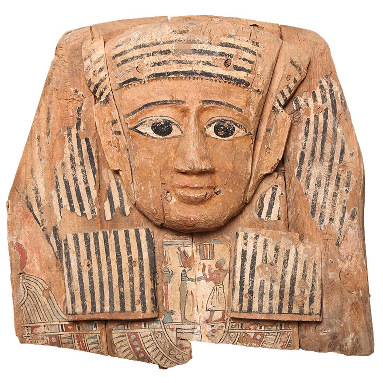 Large egyptian wood carved and painted sarcophagus mask at