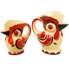 1930s Czech Ceramic Roosters