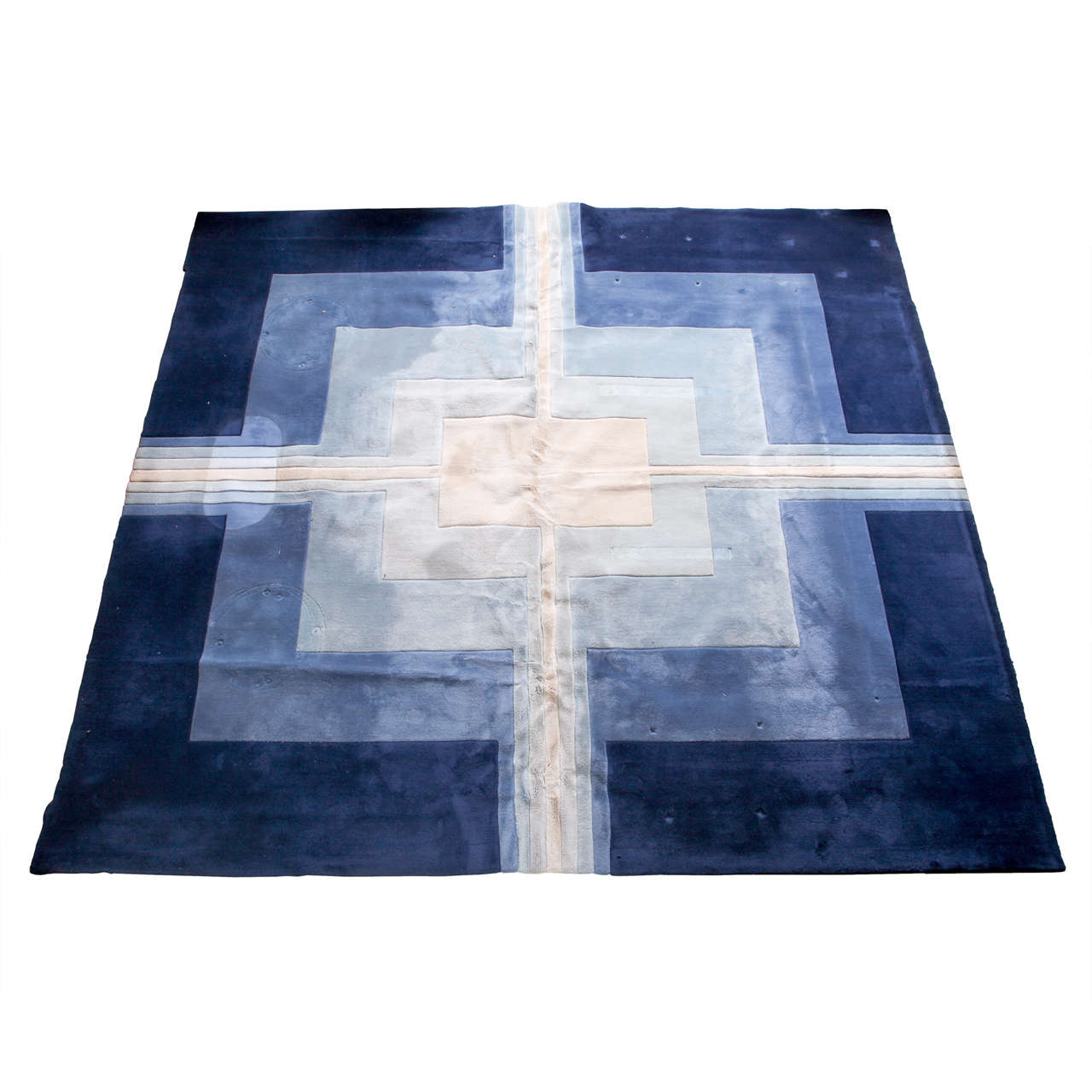 Large Edward Fields Blue And White Wool Geometric Rug At