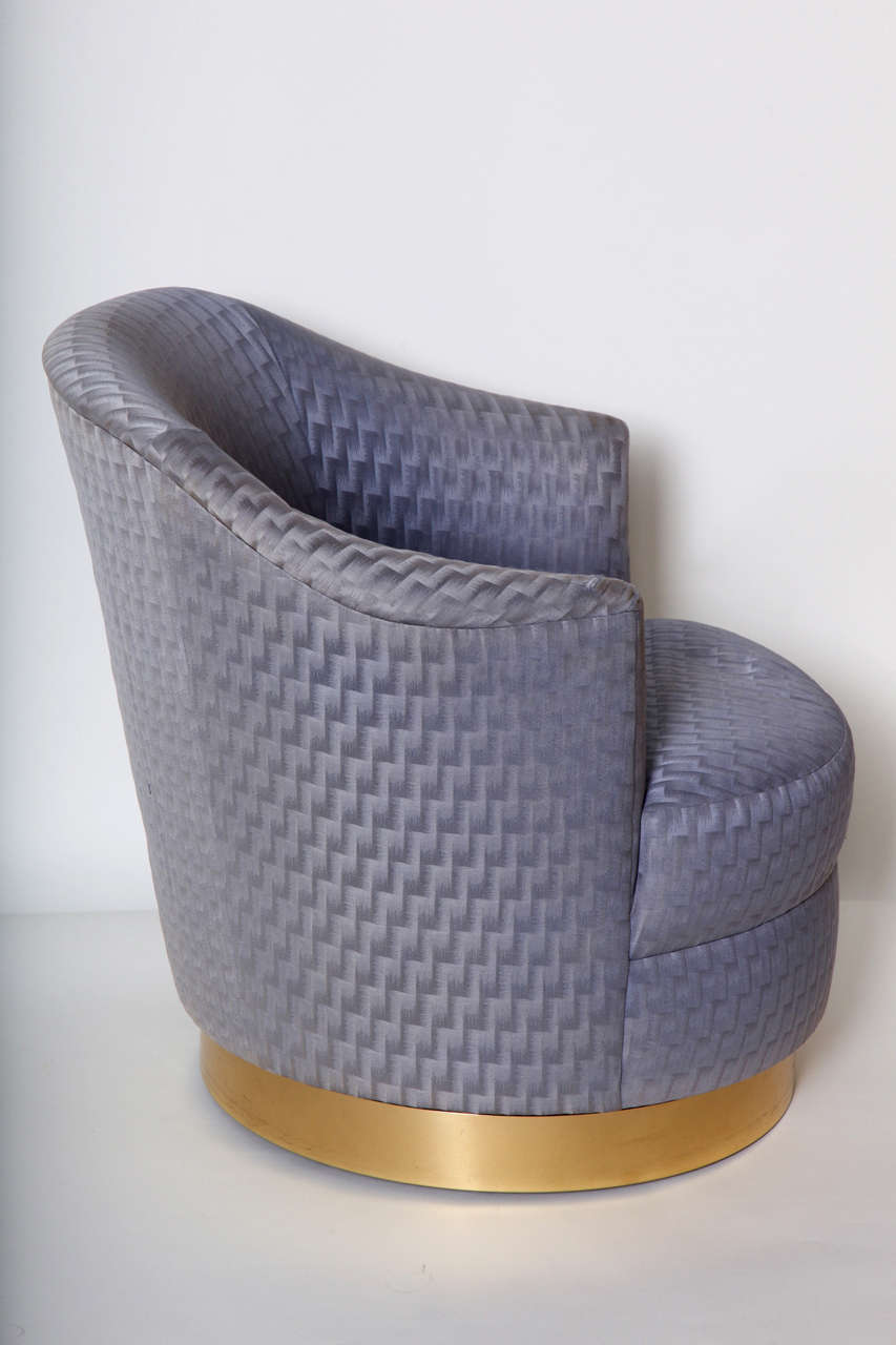 beautiful swivel club chairs | Pair of Barrel Back Swivel Club Chair by Karl Springer For ...