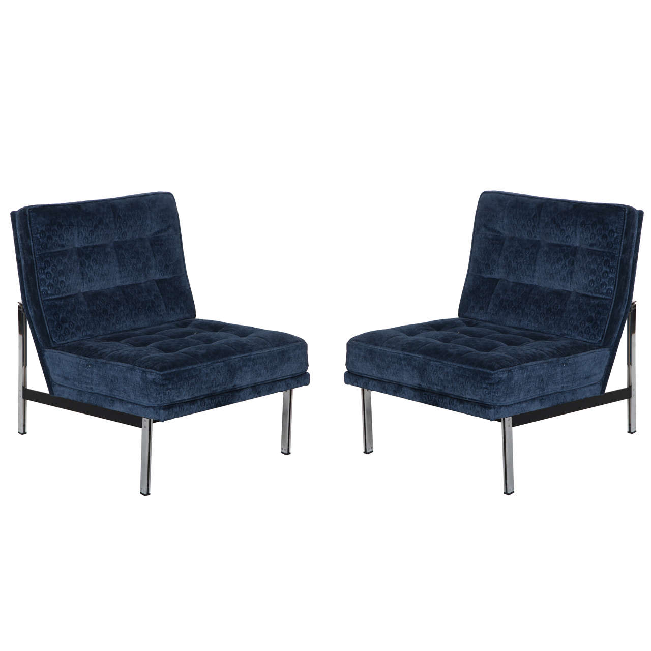 Pair of parallel bar lounge slipper chairs by florence